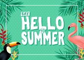 Topical Summer Banner Design With Say Hello To Summer Message In Green Color With Polka Dots Pattern poster