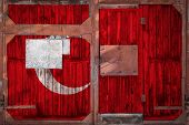 Close-up Of Old Warehouse Gate With National Flag Of Turkey. The Concept Of Export-import Turkey, St poster