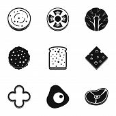 Natural Slice Product Icon Set. Simple Set Of 9 Natural Slice Product Icons For Web Isolated On Whit poster