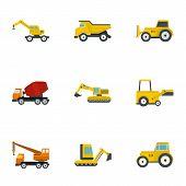 Construction Heavy Vehicle Icon Set. Flat Set Of 9 Construction Heavy Vehicle Icons For Web Isolated poster