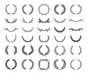 Collection Of Different Black And White Silhouette Circular Laurel Foliate, Wheat And Oak Wreaths De poster