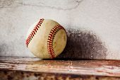 Old Baseball On Shabby Metal Textured Background. Macro View Ball, Shallow Depth Of Field, Copy Spac poster