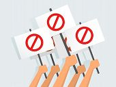Vector Illustration Of Hands Holding Protest Banners poster