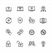 Wifi Related Vector Icon Set In Thin Line Style With Editable Stroke poster