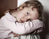 stock photo of child abuse  - Sad little girl - JPG