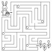 Spring Maze Game For Preschool Kids. Coloring Page. Help The Bunny Find All Easter Eggs. Vector Illu poster