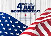 Happy 4th Of July Usa Independence Day Greeting Card With Waving American National Flag. Fourth Of J poster