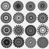 Greek Ornamental Black And White Vector Round Mandala Patterns Set. Floral Ornate Background. Geomet poster
