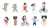 Cartoon Sport Kids. Boys And Girls Playing Ball, Group Of Children Ride On Bike, Do Active Physical  poster