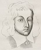 Young Blaise Pascal (age 25) old engraved portrait. Created by Domat, published on Magasin Pittoresq