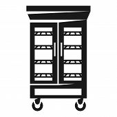 Refrigerator With Glass Doors Icon. Simple Illustration Of Refrigerator With Glass Doors Icon For We poster
