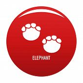 Elephant Step Icon. Simple Illustration Of Elephant Step Icon For Any Design Red poster