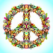 picture of peace-sign  - illustration of peace sign made of colorful swirl - JPG