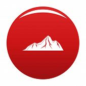 Tall Mountain Icon. Simple Illustration Of Tall Mountain Icon For Any Design Red poster