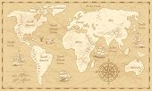 Vintage World Map. Ancient World Antiquity Paper Map With Continents Ocean Sea Old Sailing Vector Ba poster