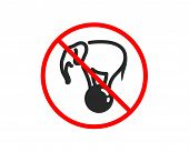 No Or Stop. Elephant On Ball Icon. Circus Sign. Amusement Park Show. Prohibited Ban Stop Symbol. No  poster