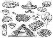 Cinco De Mayo Holiday Food And Symbols Isolated Sketches. Vector Mexican Pyramid, Sombrero Hat And M poster