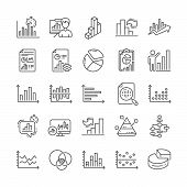 Charts And Diagrams Line Icons. Report, Block Diagram, 3d Chart And Dot Plot Graph Linear Icons. Tre poster