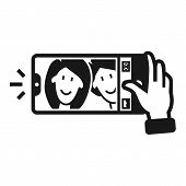 Couple Taking Selfie Icon. Simple Illustration Of Couple Taking Selfie Vector Icon For Web Design Is poster