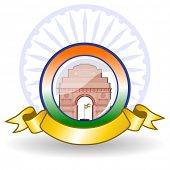 image of ashok  - Vector illustration of a National batch with golden ribbon and ashok wheel on white isolated background for Independence Day and Republic Day - JPG
