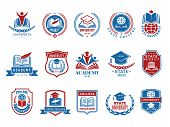 College Emblem. School Or University Badges And Labels Vector Logotype Collection. School Emblem, Co poster
