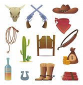 Wild West Icon. Cowboys Country Western Symbols Saloon Boots Rodeo Lasso Vector Cartoon Collection.  poster