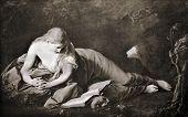 Постер, плакат: Батони Помпео Джироламо «Святой Марии Магдалины» 1742 Воспроизведение с иллюстрированной энциклопедии «Триа