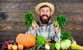 Man With Beard Proud Of His Harvest Wooden Background. Excellent Quality Harvest. Organic Fertilizer poster
