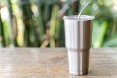 Stainless Steel Tumbler With Stainless Straw Keeping Of The Drink Cold Or Hot. Reduce Plastic Pollut poster