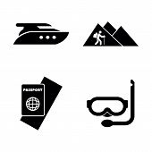 Adventure, Vacation, Trip. Simple Related Vector Icons Set For Video, Mobile Apps, Web Sites, Print  poster