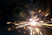 Sparks Fly Out Machine Head For Metal Processing Laser Metal On Metallurgical Plant Background. Manu poster