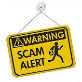 Scam Alert Warning Sign, A Yellow Warning Hanging Sign With Text Scam Alert And Theft Icon Isolated  poster