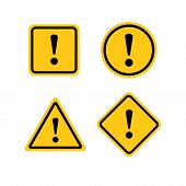 Yellow Warning Dangerous Attention Icon Icon, Danger Symbol, Filled Flat Sign, Solid Pictogram, Isol poster