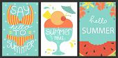 Set Of 3 Posters Of Summertime. Vector Design Concept For Summer. Sea Vacation, Watermelon Slice, Ic poster