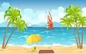 Sea Beach And Sun Loungers. Seascape, Vacation Banner With Sailing Ships, Palms, Beach Umbrella And  poster