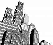 stock photo of high-rise  - Monochrome gray and black and white city illustration with dramatic perspective - JPG