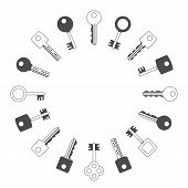 Keys Silhouettes Set. Retro, Vintage And Modern Keys Collection. Assorted Key Simple Cutout, Isolate poster