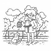 A Young Woman Is Planning To Feed A Stray Cat. Coloring Illustration For Kids. Black And White Illus poster