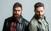 Men Brutal Bearded Hipster. Handsome Stylish And Cool. Masculine And Brutal Friends. Bully Team. Mas poster