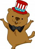 foto of groundhog day  - Illustration of a Groundhog Dancing Happily - JPG