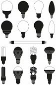 17 Black And White Light Bulb Set. Incandescent, Fluorescent, Halogen Lamp And Neon Tube. Electricit poster