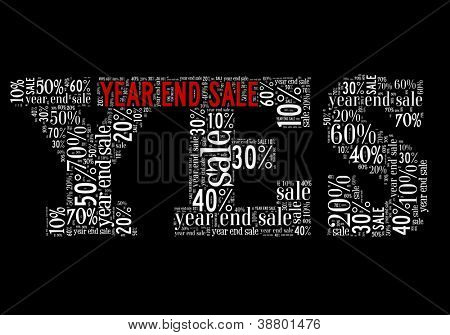 Year End Sale in word collage