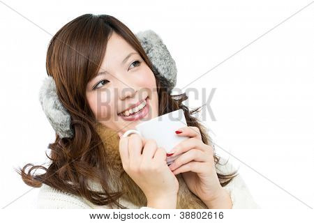 Beautiful winter woman on white background. Portrait of asian.