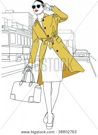 Beautiful Elegant Fashion - posing attractive young model with a trench coat on a white background of urban style