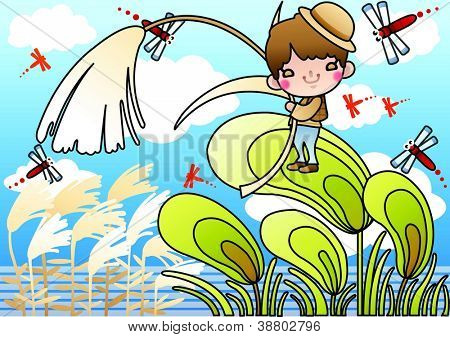 Beautiful Autumn Scenery - enjoying lovely cute young boy with a reed and red dragonflies in romantic garden on a background of blue sky : vector illustration