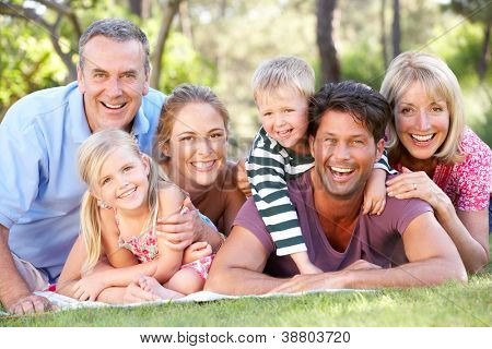 Extended Family Group Relaxing In Park Together