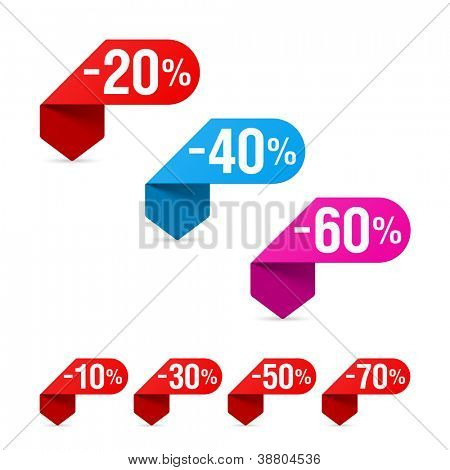 Discount signs. Vector.