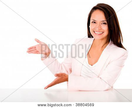 Happy woman presenting something with her hands - isolated