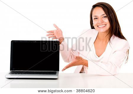 Business woman showing a laptop screen - isolated over white