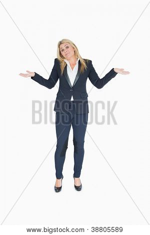 Undecided business woman on white background
